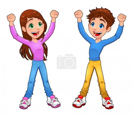 Illustration for Enthusiast boy and girl. Cartoon and vector isolated character - Royalty Free Image