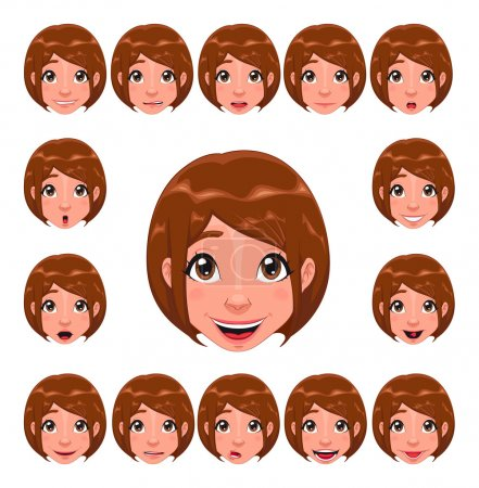 Illustration for Girl expressions with lip sync. Funny cartoon and vector isolated character - Royalty Free Image