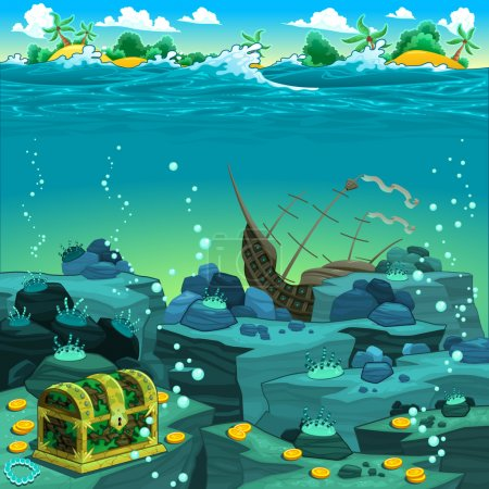 Illustration for Seascape with treasure and galleon. Vector cartoon illustratio - Royalty Free Image