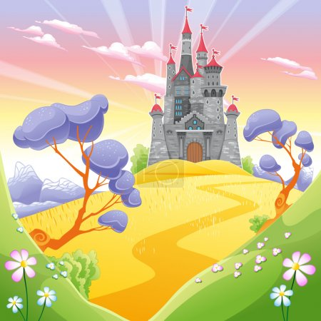 Illustration for Landscape with tower. Funny cartoon and vector illustration. - Royalty Free Image