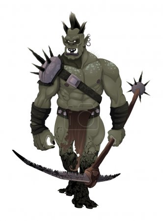 Illustration for Warrior ogre. Vector isolated character - Royalty Free Image