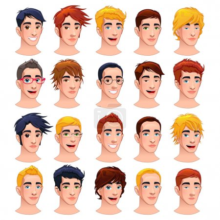 Illustration for Avatar men. Cartoon vector isolated characters. - Royalty Free Image