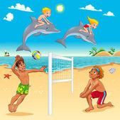 Zábavné letní scéna s delfíny a beachvolley