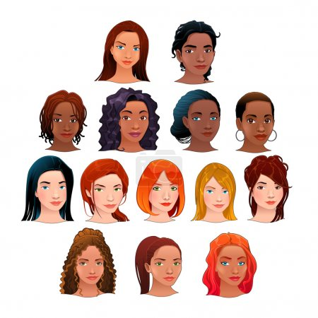 Illustration for Indian, black, asian and latino women. Vector isolated avatars. - Royalty Free Image