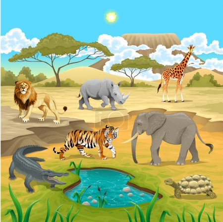 Illustration for African animals in the nature. Vector illustration - Royalty Free Image