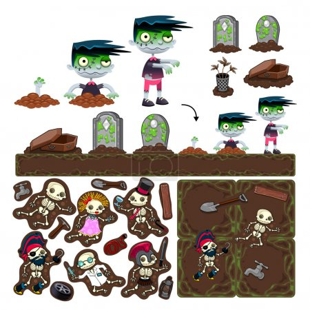Set of game elements with zombie character, platforms and object