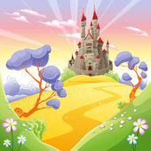 Mythological landscape with medieval castle Cartoon and vector illustration