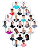 Headshot collection of multiracial group of