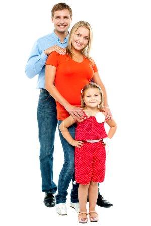 Full length portrait of adorable caucasian family