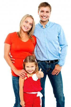Smiling family on a white background
