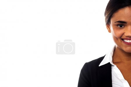 Cropped image of smiling corporate lady