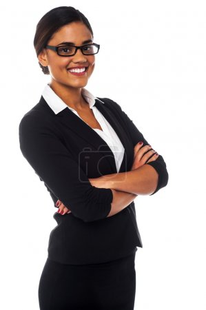 Confident mixed latin corporate female manager