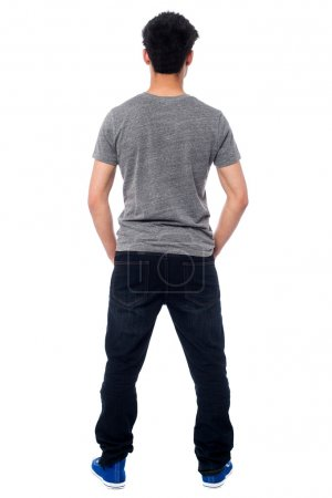 Rear view of a man in casuals, full length shot