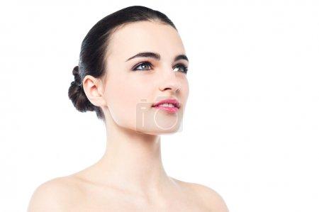 Caucasian teen model isolated over white