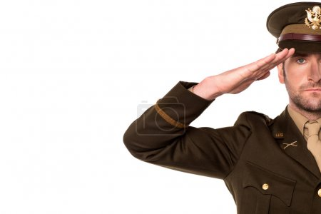 Photo for Cropped image of a military serviceman saluting - Royalty Free Image