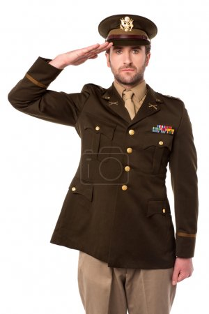 Photo for Young military officer saluting national flag - Royalty Free Image