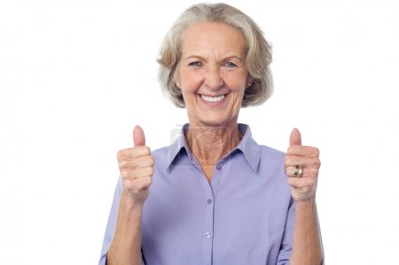 Smiling old lady thumbs up