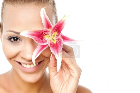 Photo for Beauty italian woman with a wellness face skin - Royalty Free Image