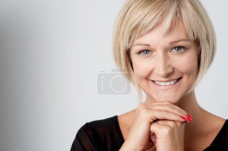 Cheerful smiling isolated woman