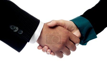 Businessmen shaking hands, closeup shot.