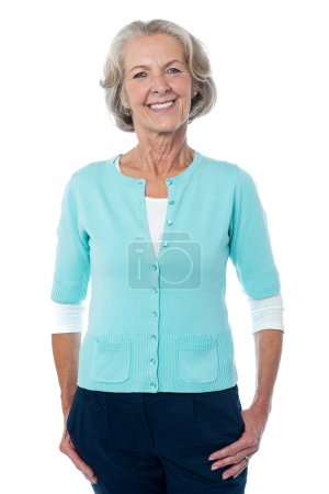 Photo pour Happy senior woman isolated over white background - image libre de droit