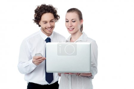 Photo for Business people working on a laptop computer - Royalty Free Image
