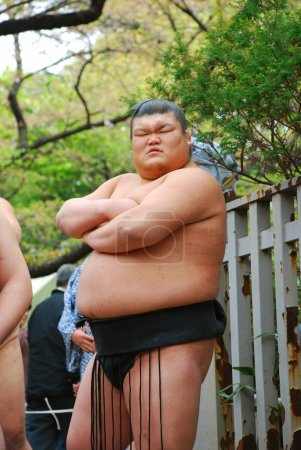 An unidentified Sumo wrestler competes in Yasukuni Shrine