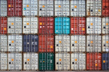 containers in an international port container shipping