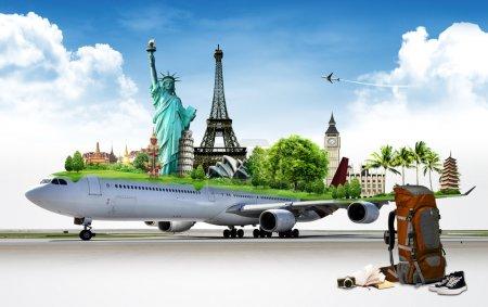 Photo pour Voyage dans le monde en avion, concept - image libre de droit