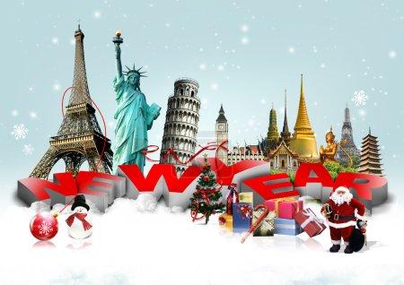 Photo pour Bonne année concept sur fond de voyage - image libre de droit