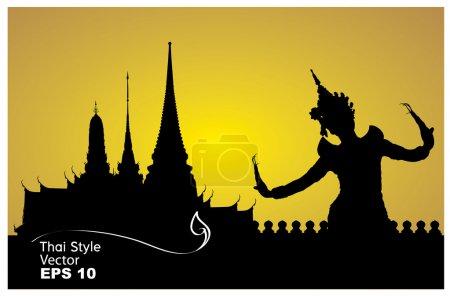 Photo pour Thai danse femme avec temple dans thailand fond silhouette - image libre de droit