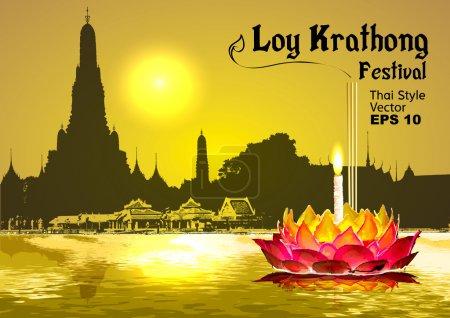 Photo pour Silhouette, Sukhothai loy krathong festival - image libre de droit