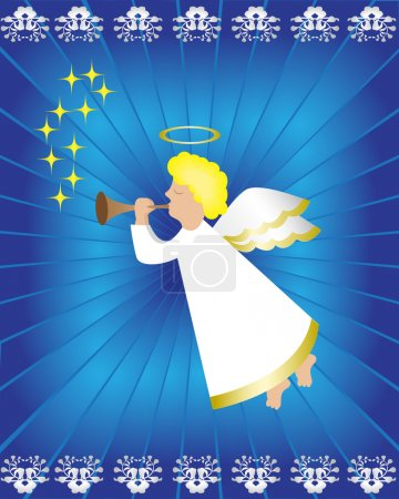 Illustration for Angel with a pipe on a blue background - Royalty Free Image