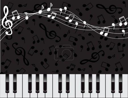 Illustration pour Fond noir avec des touches du piano et notes - image libre de droit