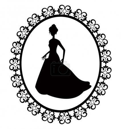 Illustration for Retro silhouette of a woman in a long dress with ornate frame - Royalty Free Image