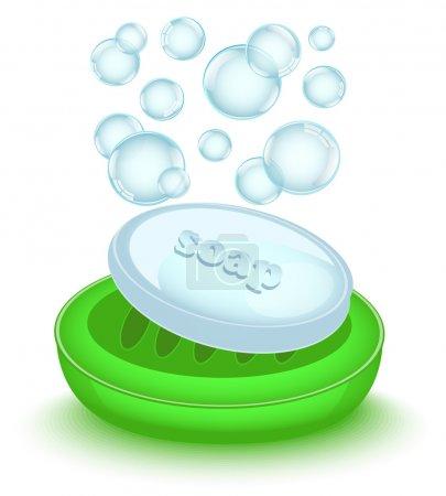 Shiny soap with bubbles in a shiny green soap dish...