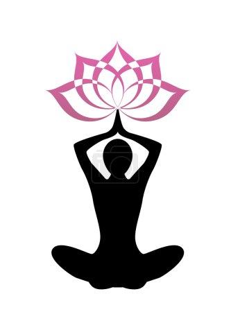 Silhouette yoga and lotus