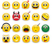 Set of yellow round expressive emoticons on white background