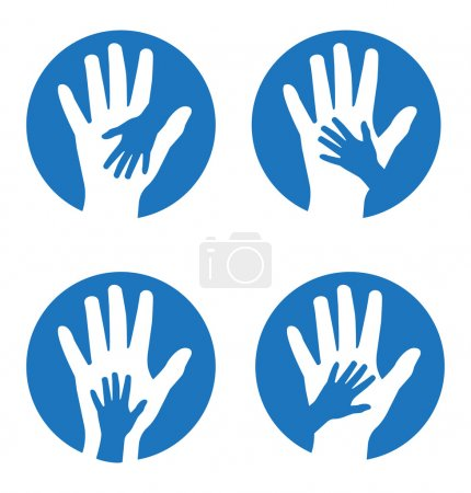 Illustration for Set of four concepts featuring children's and adults' hands - Royalty Free Image