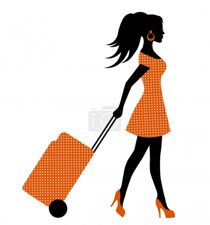 Illustration for Elegant feminine silhouette wheels suitcase on wheels - Royalty Free Image