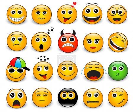 Photo pour Ensemble d'émotions rondes jaune vif sur fond blanc - image libre de droit