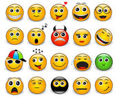 Set of bright yellow round emotions