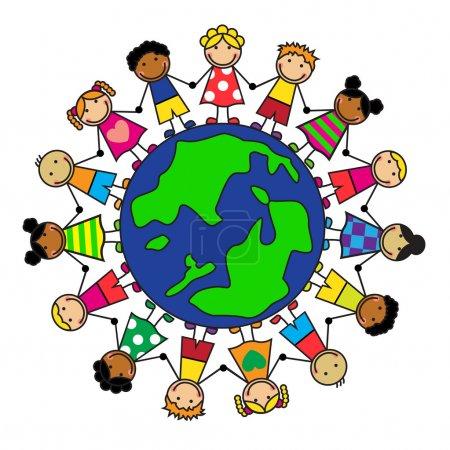 Illustration pour Dessin animé enfants de différentes nationalités sont sur la planète se tenant la main - image libre de droit
