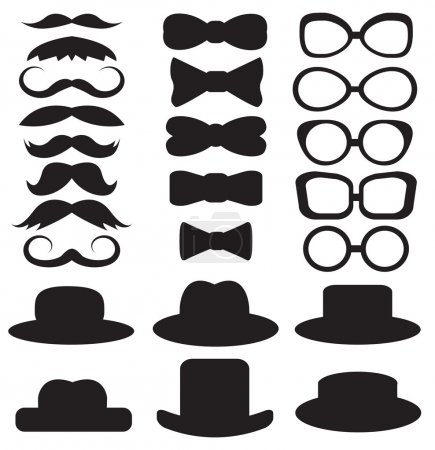Illustration for Gentleman's set consists of a hat, glasses, mustache and bow ties - Royalty Free Image
