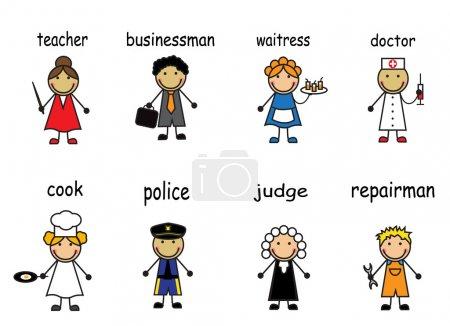 Photo pour Dessins animés de différentes professions sur fond blanc avec des légendes - image libre de droit