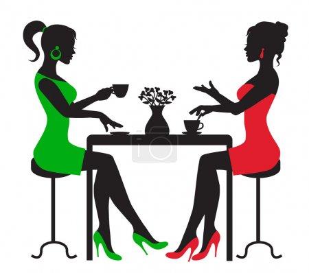 Illustration pour Silhouette deux femmes buvant du café à une table sur fond blanc - image libre de droit