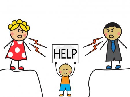 """Illustration for Cartoon parents scolded child, the child stands with a sign """"HELP"""" - Royalty Free Image"""