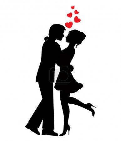 Illustration pour Silhouettes de couples amoureux et coeurs sur fond blanc - image libre de droit