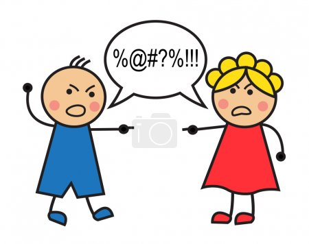Cartoon man and woman arguing and cussing...