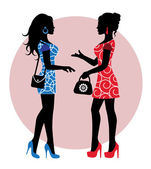 Two female silhouette in dresses and with bags stand and talk